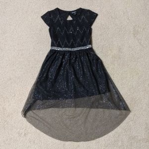 Girl's Black Dress with Silver Accents
